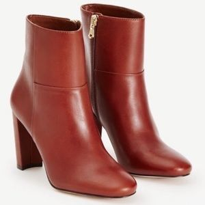 Ann Taylor Talulah Cognac Leather Booties EUC
